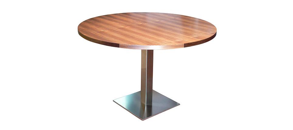 mesa 598 acero y madera redonda