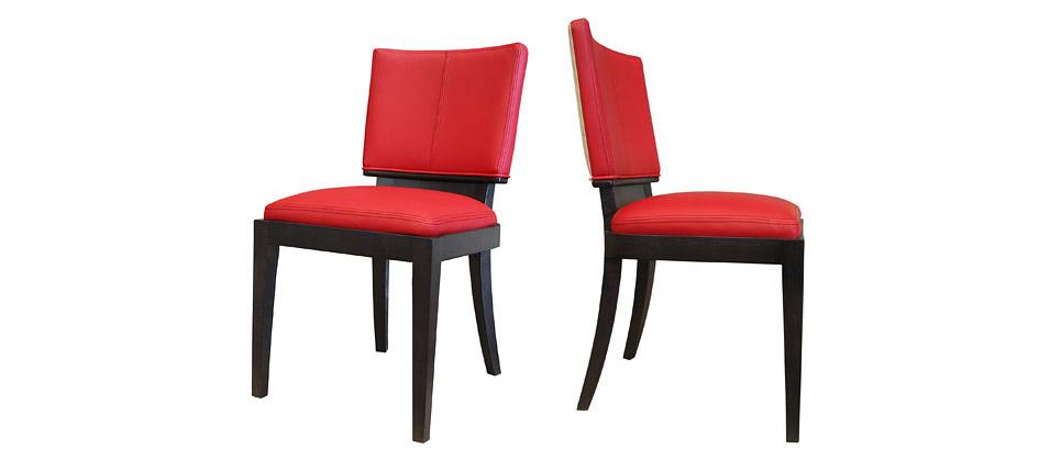 Sillas para la hosteler a silla 183 tapizada en piel roja for Sillas contemporaneas
