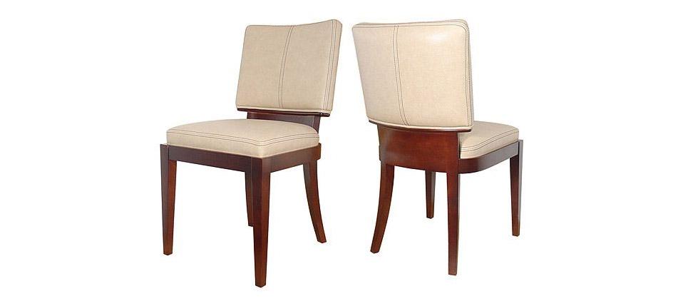 Sillas para la hosteler a silla 183 tapizada en piel beige for Sillas contemporaneas